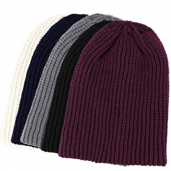 Теплая вязаная шапка-чулок унисекс