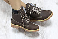 Зимние натуральные кожаные ботинки Timberland коричневого цвета