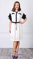 Платье летнее БелЛаКона-944 белорусский трикотаж цвета темно-синий с белым|пудра с синим
