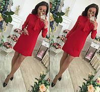 """Короткое красное платье """" Танго """" с шифоновыми рукавами и воротником. Арт-8847/74"""