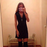 "Черное платье "" Метеорит "" со змейкой, турецкий жаккард. Арт-8848/74"