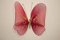 Бабочка декоративная большая 17*17 см бордо вино