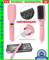 Электрическая расческа-ИОНИЗАТОР-выпрямитель 2 in 1 PTC Hair Brush с керамическим покрытием!