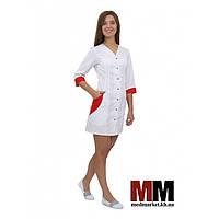 Медицинский халат женский Ибица (белый/красный) №65