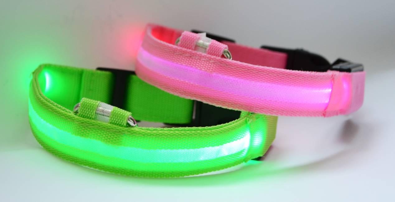 Светодиодный ошейник для собак, светящийся ошейник, розовый M