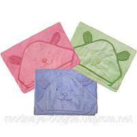 Махровое полотенце для купания ребенка с капюшоном