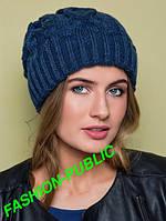Зимняя шапка вязанная с двойной резинкой 4 цвета