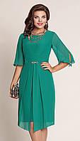 Платье красивое VITTORIA QUEEN-1313/5 белорусский трикотаж из ткани Шифон цвета Темно-зеленый