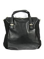 Черная кожаная сумка с замшевыми вставками