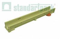 Лоток водоотводный полимербетонный CompoMax Basic DN100 H100 с вертикальным водоотводом (7022)