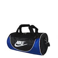 Спортивная сумка в форме цилиндра Nike105 маленькая чёрно-синяя