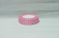 Лента тканевая, Розовая с белой клеткой, 2,5см