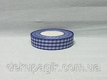 Лента тканевая, Синяя с белой клеткой, 2,5см