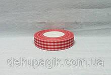 Лента тканевая, Красная с белой клеткой, 2,5см