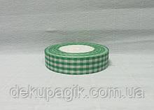 Лента тканевая, Зеленая с белой клеткой, 2,5см