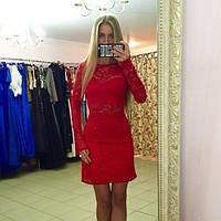 """Красивое красное  гипюровое платье """" Флейта """". Арт-8856/74"""