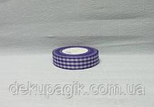 Лента тканевая, Фиолетовая с белой клеткой, 2,5см