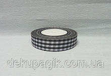 Лента тканевая, Черная с белой клеткой, 2,5см