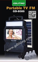 Фонарь с телевизором на солнечной батарее GD 8086