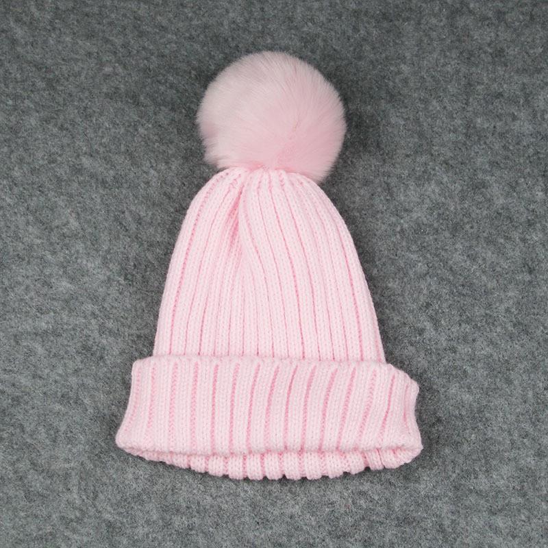 Детская шапка Розовая с Пумпоном