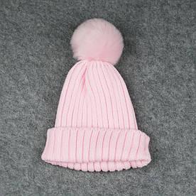 Дитяча шапка Рожева з Пумпоном