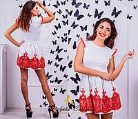 """Молодежное белое короткое платье """" Принцесса """",с кружевом. Арт-8857/74"""