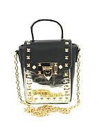 Черная с золотым женская сумочка клатч с шипами, фото 1
