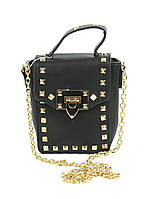 Черная женская сумочка клатч с золотыми шипами, фото 1