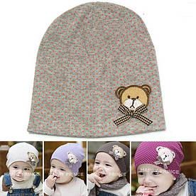 Дитяча шапка горошок сіра, ведмедик