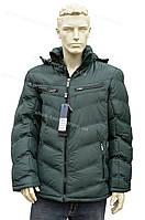 Модная зимняя мужская куртка с капюшоном очень теплая зеленая