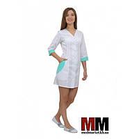 Медицинский халат женский Ибица (белый/мятный) №66