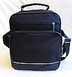 Мужская сумка через плечо вместительная крепкая барсетка в2660 черная 21х25х13см, фото 2
