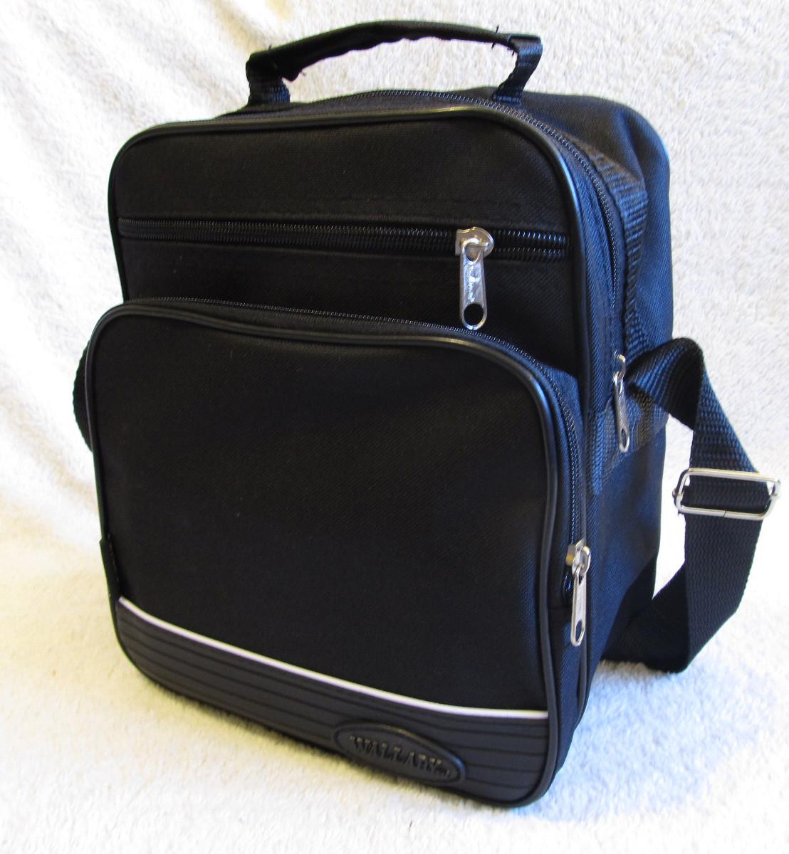 Мужская сумка через плечо вместительная крепкая барсетка в2660 черная 21х25х13см