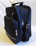 Мужская сумка через плечо вместительная крепкая барсетка в2660 черная 21х25х13см, фото 3