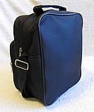 Мужская сумка через плечо вместительная крепкая барсетка в2660 черная 21х25х13см, фото 4