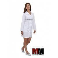 Медицинский халат женский Бостон (белый/синий печворк) №59