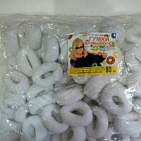 Резинки для волос (80шт) белые, D30mm. Резинки для волос оптом