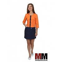 Медицинский халат женский Милан (оранжевый/синий) №75