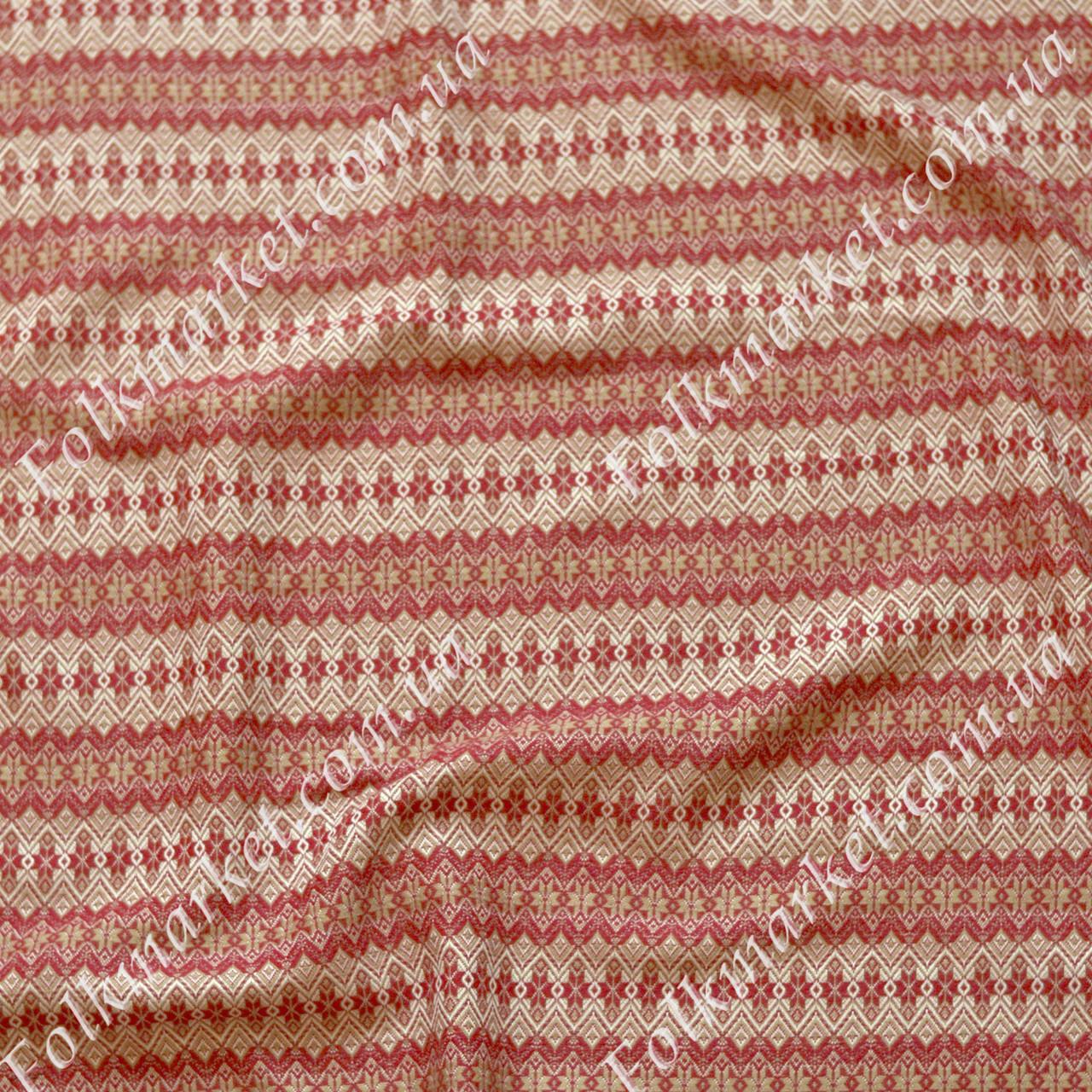 Ткань для штор с украинской вышивкой Плахта ТДК-11 4/1
