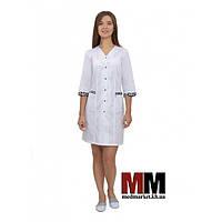 Медицинский халат женский Сингапур (белый/принт) №104