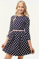 Повседневное платье для девочки-подростка в школу темно-синий