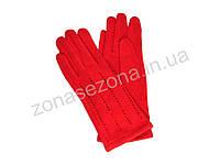 Женские перчатки зимние со стразами красные