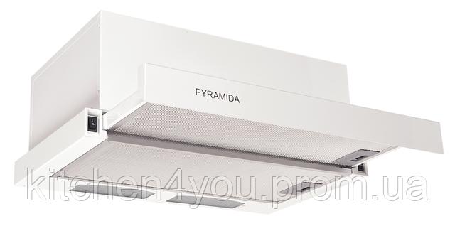 Pyramida TL-60 white (600 мм.) встраиваемая, кухонная, телескопическая вытяжка, белая эмаль