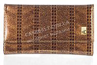 Небольшой лаковый стильный женский кошелек с кожи высокого качественный ALBERTO FELINI art. E1930-4425 кофе