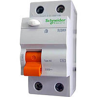 Устройство защитного отключения (УЗО) Schneider Electric ВД63 Домовой, 25А, 300мА, 2-полюсный 11451