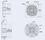 Вентилятор осьовий Weiguang YWF 2E-200-B-92/15-B на металевій пластині, фото 2