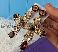 """Длинные серьги под золото """"Крест"""" большие Dolce&Gabbana"""