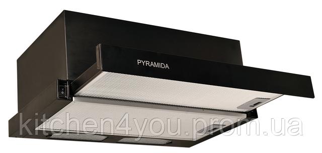 Pyramida TL-60 black (600 мм.) встраиваемая, кухонная, телескопическая вытяжка, черная эмаль