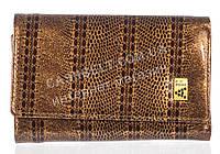 Компактный лаковый стильный женский кошелек с кожи высокого качественный ALBERTO FELINI art. E1802-4425 кофе