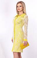 Женское гипюровое платье желтого цвета с длинным рукавом. Модель 952 SL.
